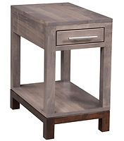 Vienna Amish Chairside Table. Small side table with drawer and shelf. Scandinavian deisgn living room tables, brown maple with two-tone finish, made in the USA.