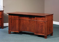 Arlington Executive Desk shown from back | Brown Maple in Acres OCS106 | 60in W x 30in D x 31 1/4in H | The Amish Home | Amish Furniture at the Pittsburgh Mills