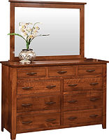 Bloomfield Tall Dresser with Optional Mirror | Six wide inset drawers, three narrow inset drawers. 76in high with optional mirror. | Rustic Quartersawn White Oak in Michaels OCS113 | 62in W x 21in D x 41in H | The Amish Home | Amish Furniture at the Pittsburgh Mills