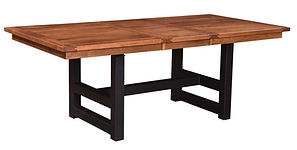 Avon Dining Table with metal base | Rustic Cherry in Seely OCS104 | Many Sizes Available | The Amish Home | Amish Furniture at the Pittsburgh Mills