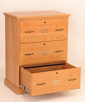 Heirwood Three-drawer Lateral File Cabinet | Available in Traditional, Mission, or Shaker style | Oak in Fruitwood OCS102 | 32in W x 20in D x 43in H | The Amish Home | Amish Furniture at the Pittsburgh Mills