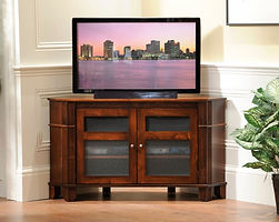 Arlington Corner TV Stand with 2 Doors with Speaker Cloth Panels | Brown Maple in Coffee OCS226 | 52 1/2in W x 18in D x 29 1/2in H, 37in wall space | The Amish Home | Amish Furniture at the Pittsburgh Mills