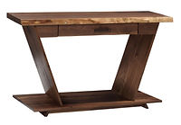Junction Sofa Table | 1 1/2in Live Edge Top. Sides of table angle up and out to make a V shape. One drawer and open shelf. | Rustic Walnut in Natural OCS100 | 36in W x 18in D x 30in H | The Amish Home | Amish Furniture at the Pittsburgh Mills