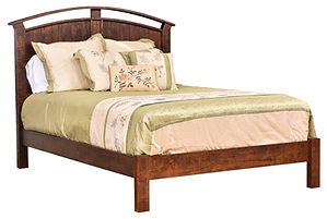 Timbermill Arch Panel Bed | Arched headboard has shiplap panels and cutout detail, continuous rail footboard. | Rustic Cherry in Kona FC-3030 | Headboard 58in H, footboard 17in H | The Amish Home | Amish Furniture at the Pittsburgh Mills