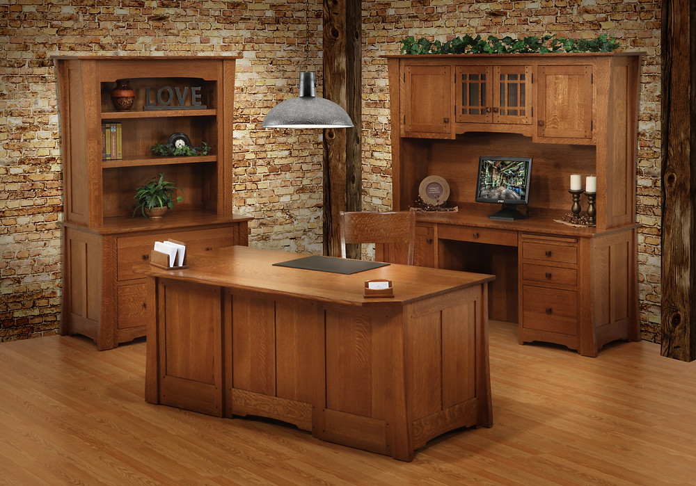 Virginian Office Suite with Executive Desk, Credenza with Hutch, and Lateral File with Bookcase in Quartersawn White Oak - Home Office Furniture