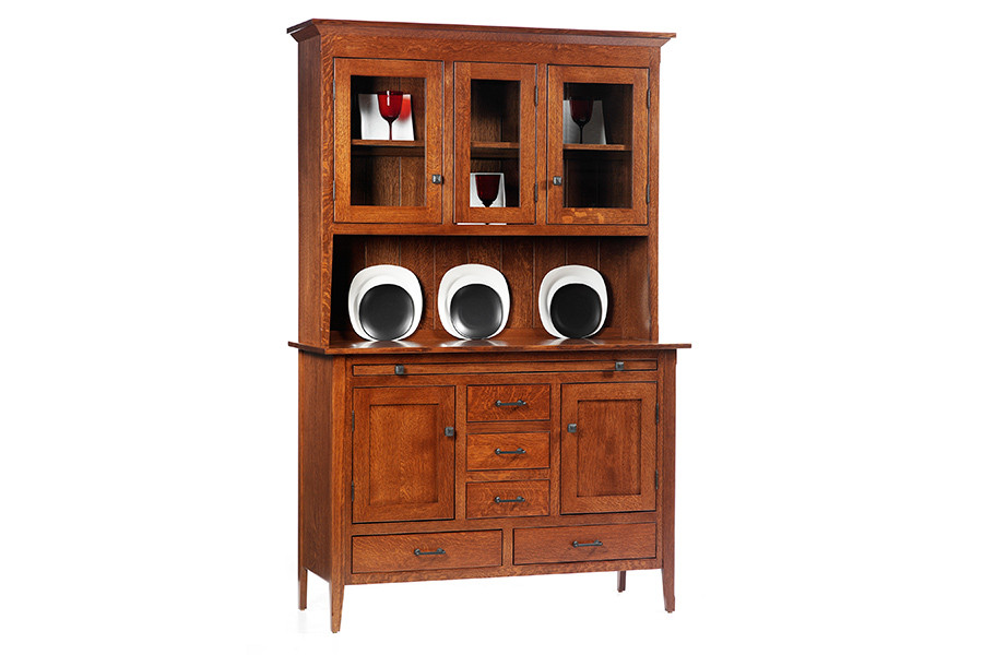 Rustic china cabinet - American craftman china cabinet classic shaker collection in white oak