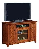 Wayne's Modern Mission TV Stand | Oak in Michaels OCS113 | 50in W x 18in D x 33 1/2in H | The Amish Home | Amish Furniture at the Pittsburgh Mills
