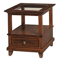 New Port End Table with glass insert | Rustic Cherry in Boston OCS111 | 22in W x 26in D x 25in H | The Amish Home | Amish Furniture at the Pittsburgh Mills