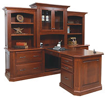 Buckingham Partner Desk with Hutch|Cherry in Washington OCS107|100in W x 74in D x 79 1//2in H|The Amish Home|Amish Furniture at the Pittsburgh Mills