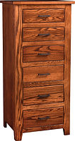 Bloomfield Lingerie Chest | Six inset drawers. | Rustic Quartersawn White Oak in Michaels OCS113 | 24in W x 19in D x 53in H | The Amish Home | Amish Furniture at the Pittsburgh Mills