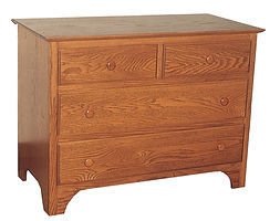 Jonas's Shaker 4 Drawer Dresser|Oak in Seely OCS104|40in W x 20in D x 31in H|The Amish Home|Amish Furniture at the Pittsburgh Mills