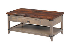 Frontier Coffee Table|Reclaimed Barn Oak in Asbury OCS117|42in W x 22in D x 18in H|The Amish Home|Amish Furniture at the Pittsburgh Mills