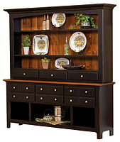 Bunker Hill 4 Door Hutch|Quartersawn White Oak in Boston OCS111|78 1/2in W x 20 1/4in D x 84 1/2in H|The Amish Home|Amish Furniture at the Pittsburgh Mills