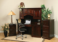 Wayne's Traditional Desk with Hutch | Brown Maple in Onyx OCS230 | 65 3/4in W x 26in D x 71in H | The Amish Home | Amish Furniture at the Pittsburgh Mills