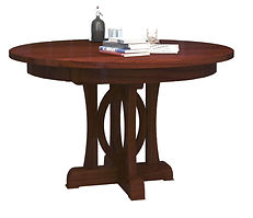 Empire Single Pedestal Table | Shown with round top, waterfall edge. Available with butterfly edge. | Brown Maple in Two-toned | Many Sizes Available | The Amish Home | Amish Furniture at the Pittsburgh Mills