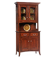English Shaker 2 Door Hutch|Brown Maple in Acres OCS106|39in W x 20in D x 81in H|The Amish Home|Amish Furniture at the Pittsburgh Mills