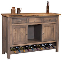 Adele Wine Buffet with reclaimed barnwood|Brown Maple in Cappuccino OCS119|60in W x 20in D x 42in H|The Amish Home|Amish Furniture at the Pittsburgh Mills