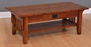 Old World Mission Coffee Table|Quartersawn White Oak in Michaels OCS113|48in W x 22in D x 17 1/4in H|The Amish Home|Amish Furniture at the Pittsburgh Mills