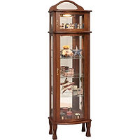 Rectangular Bonnet Top Curio | 3 adjustable shelves with plate groove, mirror back, clear glass, 2 LED touch lights, brass pull with lock, door hinged right | Cherry in Washington OCS107 | 21in W x 15in D x 73in H | The Amish Home | Amish Furniture at the Pittsburgh Mills