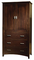 Cambrai Mission Armoire|Brown Maple in Onyx OCS230|40 1/2in W x 23 1/2in D x 76 1/4in H|The Amish Home|Amish Furniture at the Pittsburgh Mills