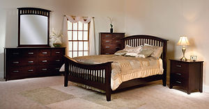 Cambrai Mission Bedroom Furniture Collection|Queen arched slat bed with crescent footboard, nightstand with 3 drawers, dresser with optional mirror, chest of drawers|Solid Brown Maple in Onyx OCS230|The Amish Home|Amish Furniture at the Pittsburgh Mills