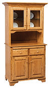 Mini Hutch Oak in Fruitwood OCS102 38 3/8in W x 19 1/2in D x 72 1/2in H The Amish Home Amish Furniture at the Pittsburgh Mills
