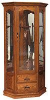 Corner Swivel 6 Gun Cabinet|Oak in Michaels OCS113|31 1/2in W x 20 1/4in D x 72 1/2in H, 25 1/2in wall space|The Amish Home|Amish Furniture at the Pittsburgh Mills