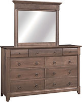 Sanibel Mule Dresser with Optional Mirror|Rustic Cherry in Cappuccino OCS119|66in W x 20 3/4in D x 41 1/4in H|The Amish Home|Amish Furniture at the Pittsburgh Mills