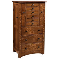 Bungalow Mission Jewelry Armoire | 9 drawers, 1 with ring bar, 5 with wooden dividers, 3 with velvet bottom. 2 Pull-outs with 13 necklace hooks each, side wings with 8 jewelry hooks each. Full extension drawer slides. | Quartersawn White Oak in Michaels OCS113 | 24in W x 16 3/4in D x 48in H | The Amish Home | Amish Furniture at the Pittsburgh Mills