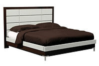 American Modern 12-Panel Upholstered Bed with metal leg|Brown Maple in |Headboard 55in H, footboard in H|The Amish Home|Amish Furniture at the Pittsburgh Mills
