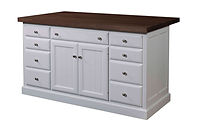 Jefferson City Traditional Kitchen Island | 2 Doors, 9 Drawers, 1 Adjustable Shelf. Shown with walnut butcher block top. | Brown Maple in White Paint | 62in W x 24in D x 34 1/2in H | The Amish Home | Amish Furniture at the Pittsburgh Mills