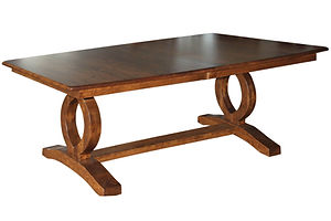 Freeman's Master Trestle Table | Shown with boat top, chamfer edge. Available with butterfly leaf. | Brown Maple in Asbury OCS117 | Many Sizes Available | The Amish Home | Amish Furniture at the Pittsburgh Mills