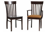 Venice Dining Chair|Brown Maple in Rich Tobacco OCS228 | Side chair shown with wood seat, arm chair shown with upholstered (padded) seat|The Amish Home|Amish Furniture at the Pittsburgh Mills