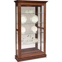 Sliding Door Large Picture Frame Curio | 4 adjustable shelves with plate groove, mirror back, clear glass, LED touch light, door slides left | Brown Maple in Asbury OCS117 | 39 1/2in W x 14 3/4in D x 72 1/2in H | The Amish Home | Amish Furniture at the Pittsburgh Mills