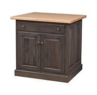 Traditional Raised Panel Kitchen Island | 2 Doors, 1 Drawer, 1 Adjustable Shelf. Shown with hard maple butcher block top. | Brown Maple in Rich Tobacco OCS228 | 32 1/2in W x 24in D x 34 1/2in H | The Amish Home | Amish Furniture at the Pittsburgh Mills