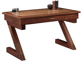 Kipling Writing Table with optional tiger maple inlay   Brown Maple in Coffee OCS226   54in W x 28in D x 30 1/2in H   The Amish Home   Amish Furniture at the Pittsburgh Mills
