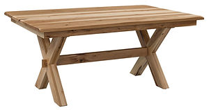 Stanton Trestle Dining Table | Rustic Hickory in Natural OCS100 | Many Sizes Available | The Amish Home | Amish Furniture at the Pittsburgh Mills