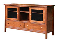 Country Mission TV Stand|Quartersawn White Oak in Michaels OCS113|63 1/2in W x 19 7/8in D x 38in H|The Amish Home|Amish Furniture at the Pittsburgh Mills