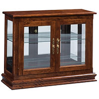 Small Console Curio | 2 adjustable shelves with plate groove, mirror back, clear glass, LED touch light, brass plate with lock | Brown Maple in Asbury OCS117 | 38in W x 13 1/4in D x 30in H | The Amish Home | Amish Furniture at the Pittsburgh Mills