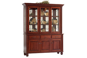 Hampton 3 Door Hutch|Cherry in Acres OCS106|66 3/4in W x 20in D x 81 1/2in H|The Amish Home|Amish Furniture at the Pittsburgh Mills Amish Dining Solutions