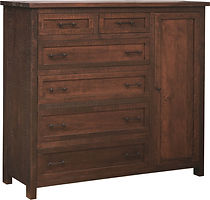Denali Man's Chest | Four wide inset drawers, two narrow inset top drawers, and one full-length door, with flat panel fronts. Choose adjustable shelves or clothing hang bar. | Brown Maple (Circular Sawn) in Almond FC-4200 | 58in W x 19in D x 54in H | The Amish Home | Amish Furniture at the Pittsburgh Mills