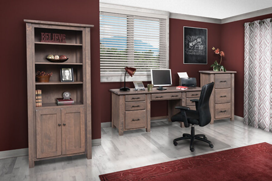 Barn Floor Office Furniture with rustic desk, file cabinet, and bookcase