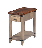 Frontier Chair Side End Table|Reclaimed Barn Oak in Asbury OCS117|13in W x 24in D x 24in H|The Amish Home|Hardwood Furniture at the Pittsburgh Mills