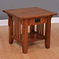 Old World Mission End Table | Quartersawn White Oak in Michaels OCS113 | 22in W x 24in D x 24in H | The Amish Home | Amish Furniture at the Pittsburgh Mills