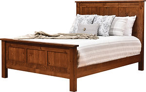 Bloomfield Panel Bed | Rustic Quartersawn White Oak in Michaels OCS113 | Headboard 54in H, footboard 27 1/2in H | The Amish Home | Amish Furniture at the Pittsburgh Mills