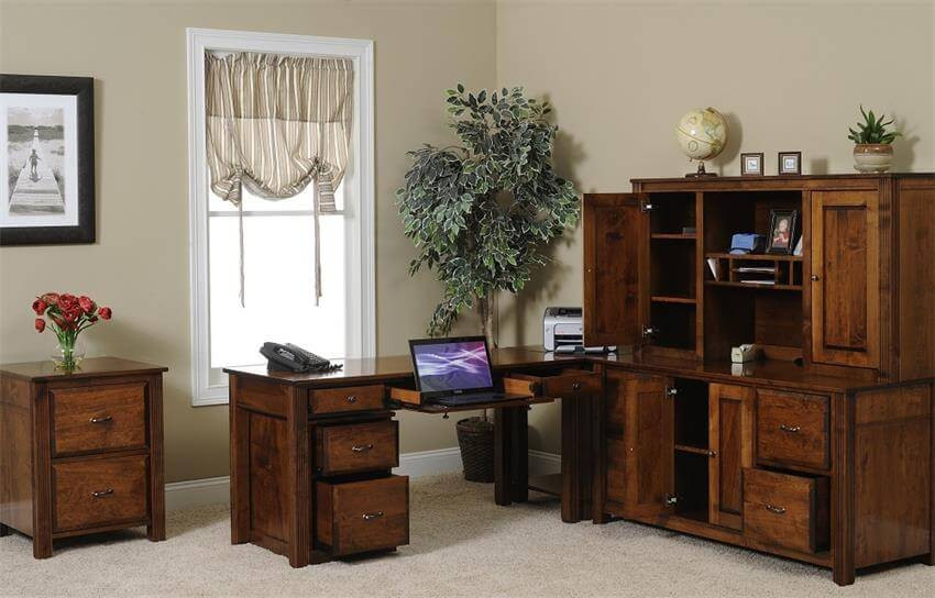 "The Arlington Modular Office Collection is shown in brown maple and includes a 60"" table desk, corner table, 60"" credenza, 60"" hutch, rolling file cabinet, and 2-drawer file cabinet"