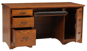 Prairie Mission Computer Desk|Oak in Fruitwood OCS104|60in W x 24in D x 30 3/4in H|The Amish Home|Amish Furniture at the Pittsburgh Mills