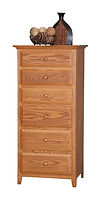 English Shaker Lingerie Chest|Oak in Seely OCS104|27in W x 20in D x 57in H|The Amish Home|Hardwood Furniture at the Pittsburgh Mills