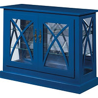 Bella Console Curio | 2 adjustable shelves with plate groove, mirror back, clear glass, LED touch light, no lock | Brown Maple in Blue Paint | 38in W x 13in D x 30in H | The Amish Home | Amish Furniture at the Pittsburgh Mills
