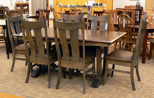 Harper Trestle Table with Kirtland Chairs two-tone in Quartersawn White Oak with Cocoa stain and Brown Maple with Smoke stain at The Amish Home in the Galleria at Pittsburgh Mills